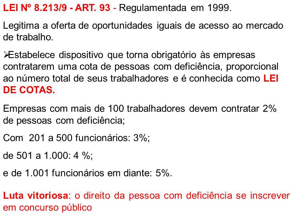 LEI Nº 8.213/9 - ART. 93 - Regulamentada em 1999. Legitima a oferta de oportunidades iguais de acesso ao mercado de trabalho.  Estabelece dispositivo