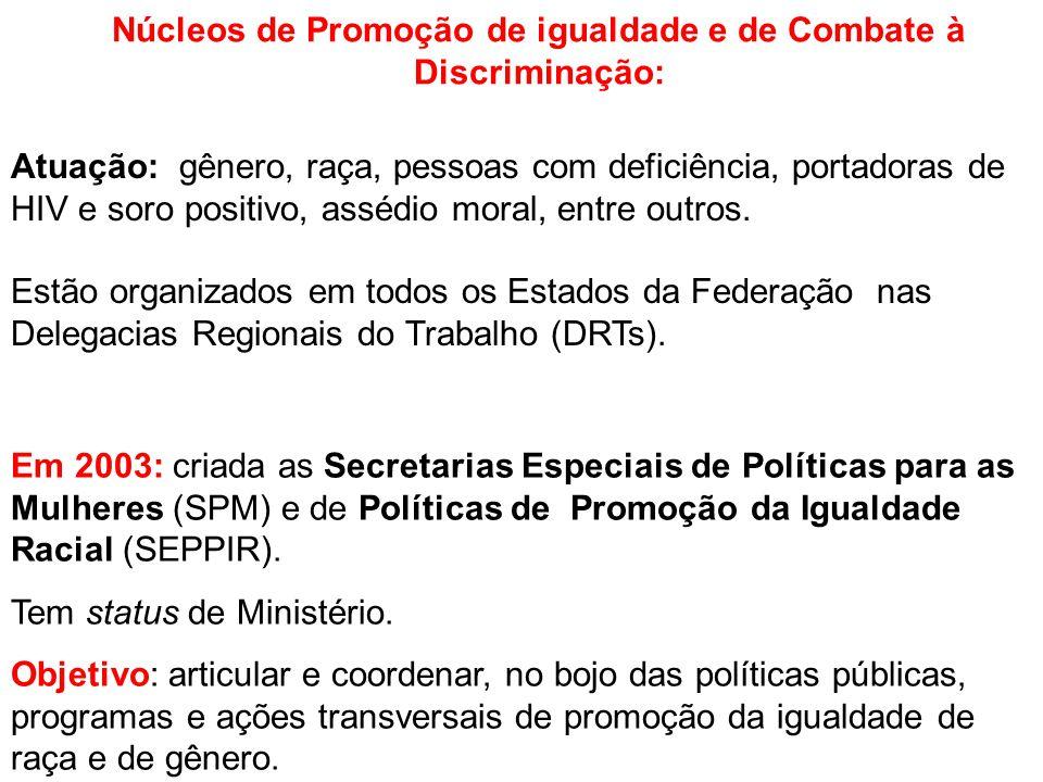 Núcleos de Promoção de igualdade e de Combate à Discriminação: Em 2003: criada as Secretarias Especiais de Políticas para as Mulheres (SPM) e de Políticas de Promoção da Igualdade Racial (SEPPIR).