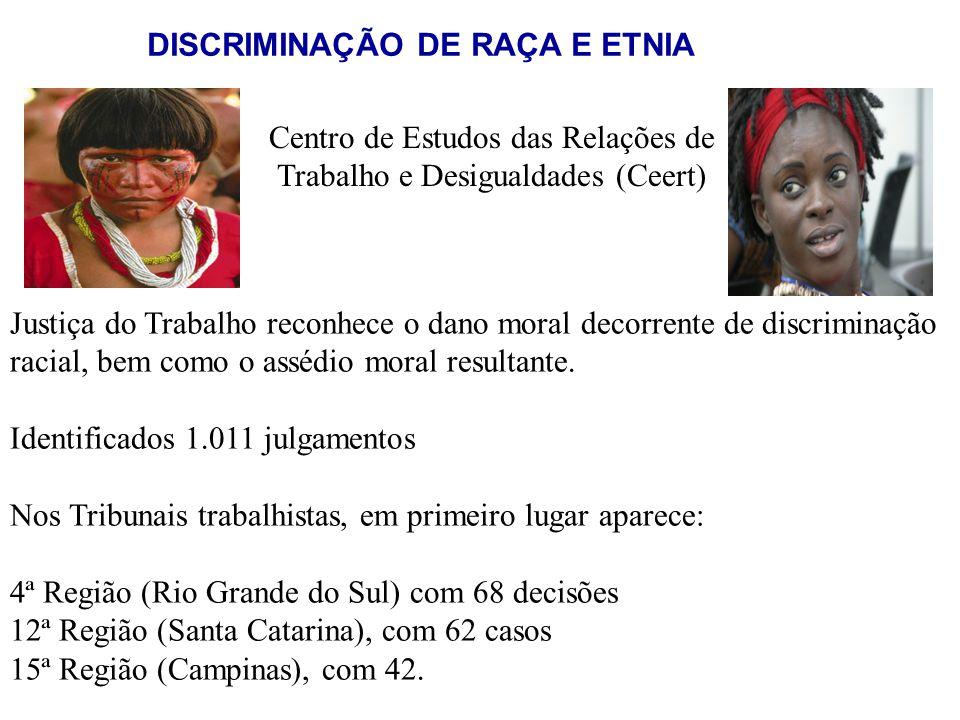 Centro de Estudos das Relações de Trabalho e Desigualdades (Ceert) Justiça do Trabalho reconhece o dano moral decorrente de discriminação racial, bem