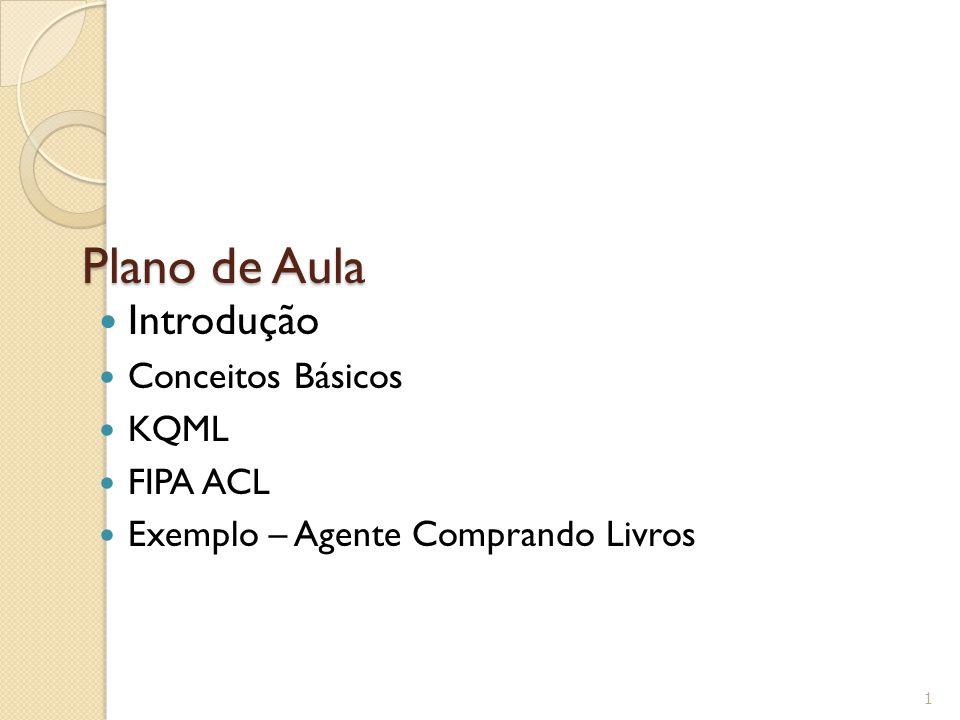 Plano de Aula Introdução Conceitos Básicos KQML FIPA ACL Exemplo – Agente Comprando Livros 1
