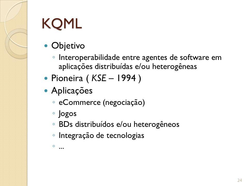 KQML Objetivo ◦ Interoperabilidade entre agentes de software em aplicações distribuídas e/ou heterogêneas Pioneira ( KSE – 1994 ) Aplicações ◦ eCommer