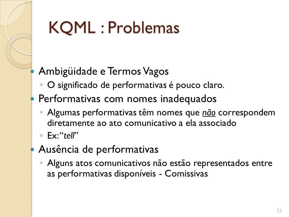 KQML : Problemas Ambigüidade e Termos Vagos ◦ O significado de performativas é pouco claro. Performativas com nomes inadequados ◦ Algumas performativa