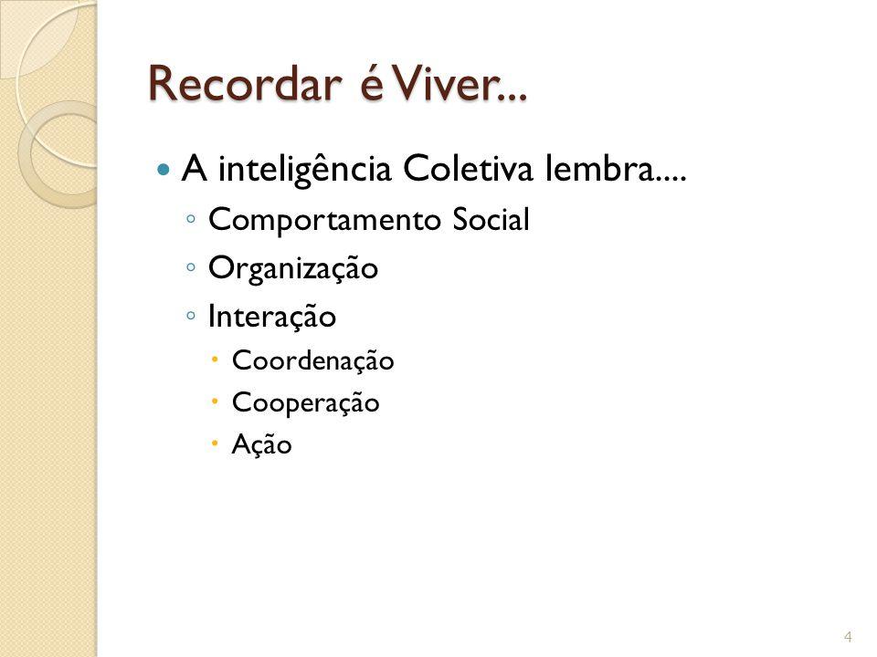 Recordar é Viver... A inteligência Coletiva lembra.... ◦ Comportamento Social ◦ Organização ◦ Interação  Coordenação  Cooperação  Ação 4