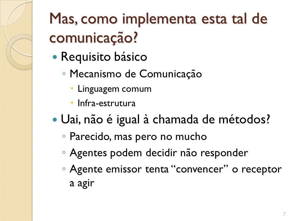 Mas, como implementa esta tal de comunicação? Requisito básico ◦ Mecanismo de Comunicação  Linguagem comum  Infra-estrutura Uai, não é igual à chama