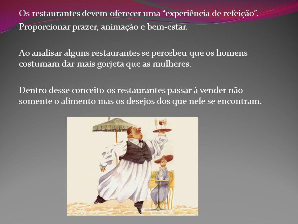 """Os restaurantes devem oferecer uma """"experiência de refeição"""". Proporcionar prazer, animação e bem-estar. Ao analisar alguns restaurantes se percebeu q"""