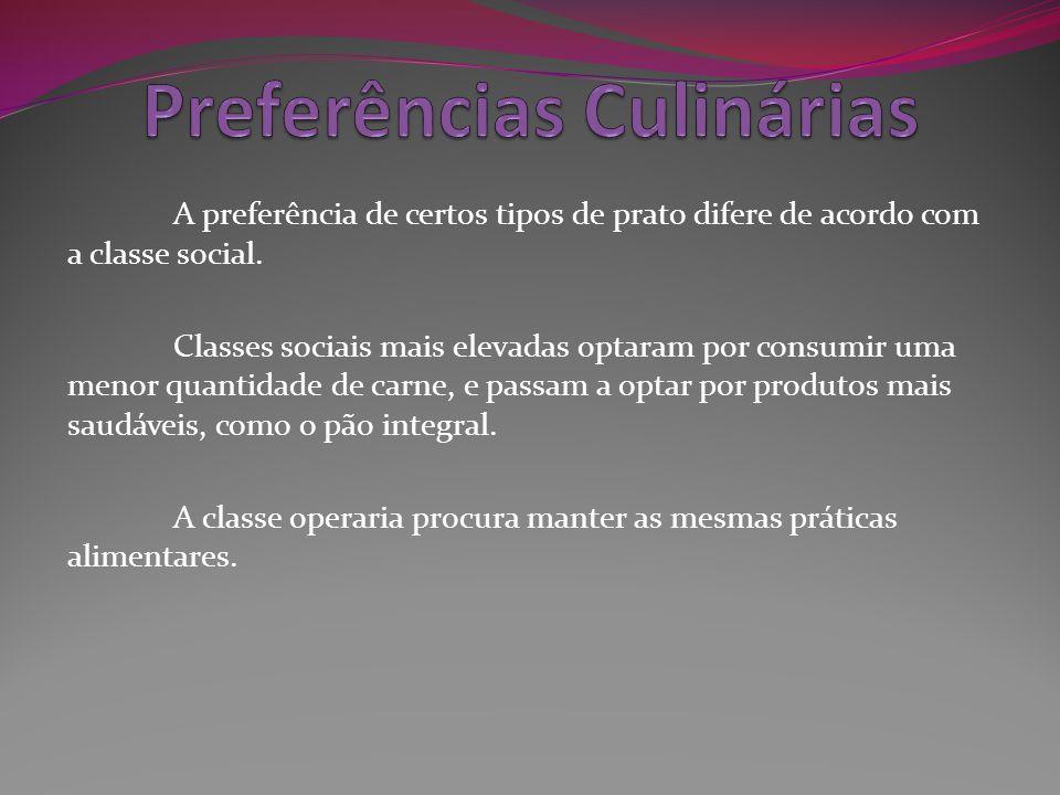 A preferência de certos tipos de prato difere de acordo com a classe social. Classes sociais mais elevadas optaram por consumir uma menor quantidade d