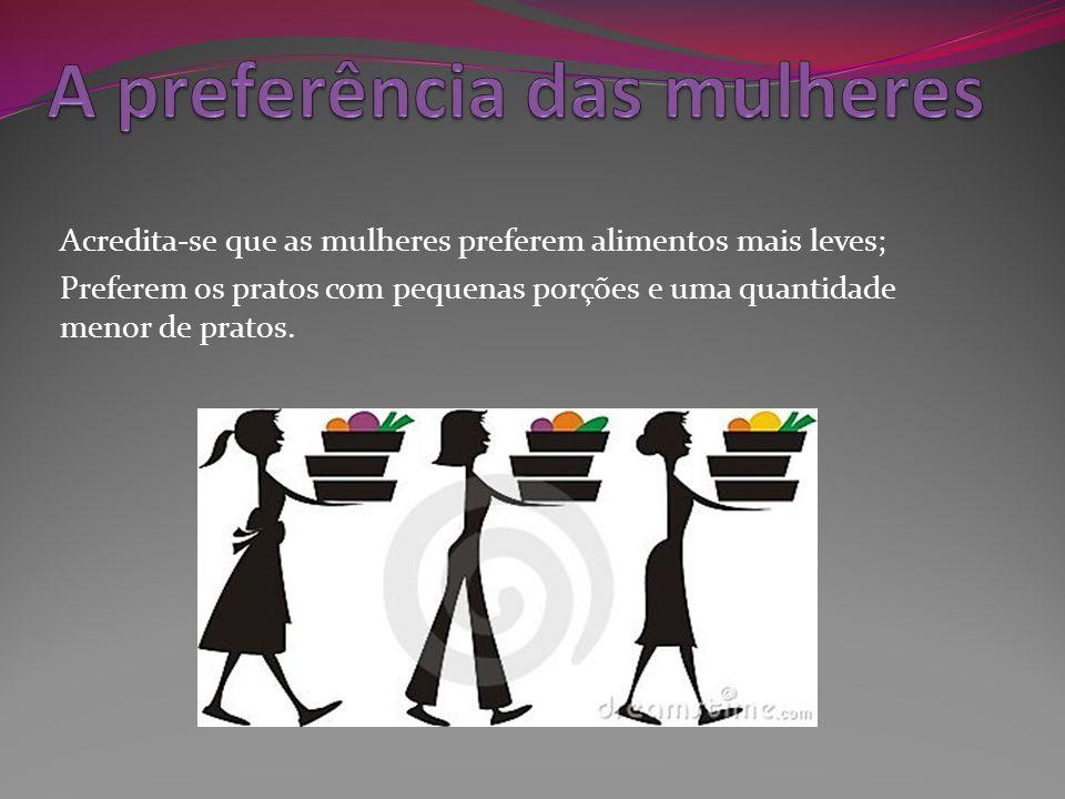 Acredita-se que as mulheres preferem alimentos mais leves; Preferem os pratos com pequenas porções e uma quantidade menor de pratos.
