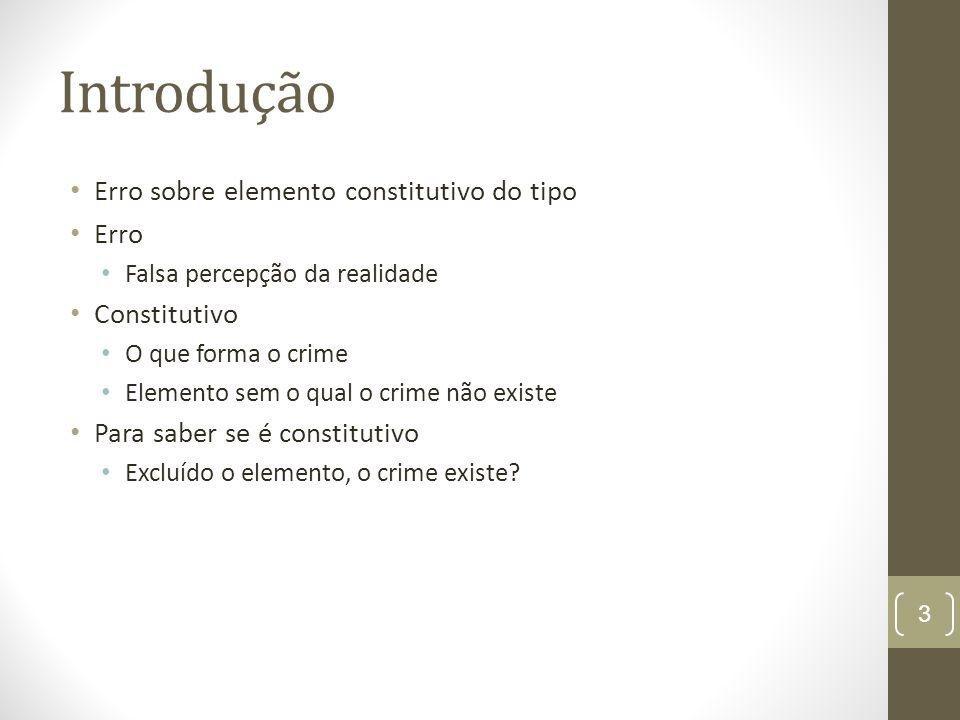 Introdução Erro sobre elemento constitutivo do tipo Erro Falsa percepção da realidade Constitutivo O que forma o crime Elemento sem o qual o crime não