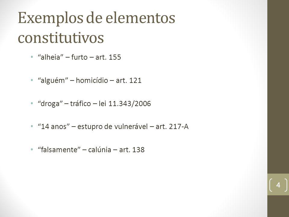 """Exemplos de elementos constitutivos """"alheia"""" – furto – art. 155 """"alguém"""" – homicídio – art. 121 """"droga"""" – tráfico – lei 11.343/2006 """"14 anos"""" – estupr"""