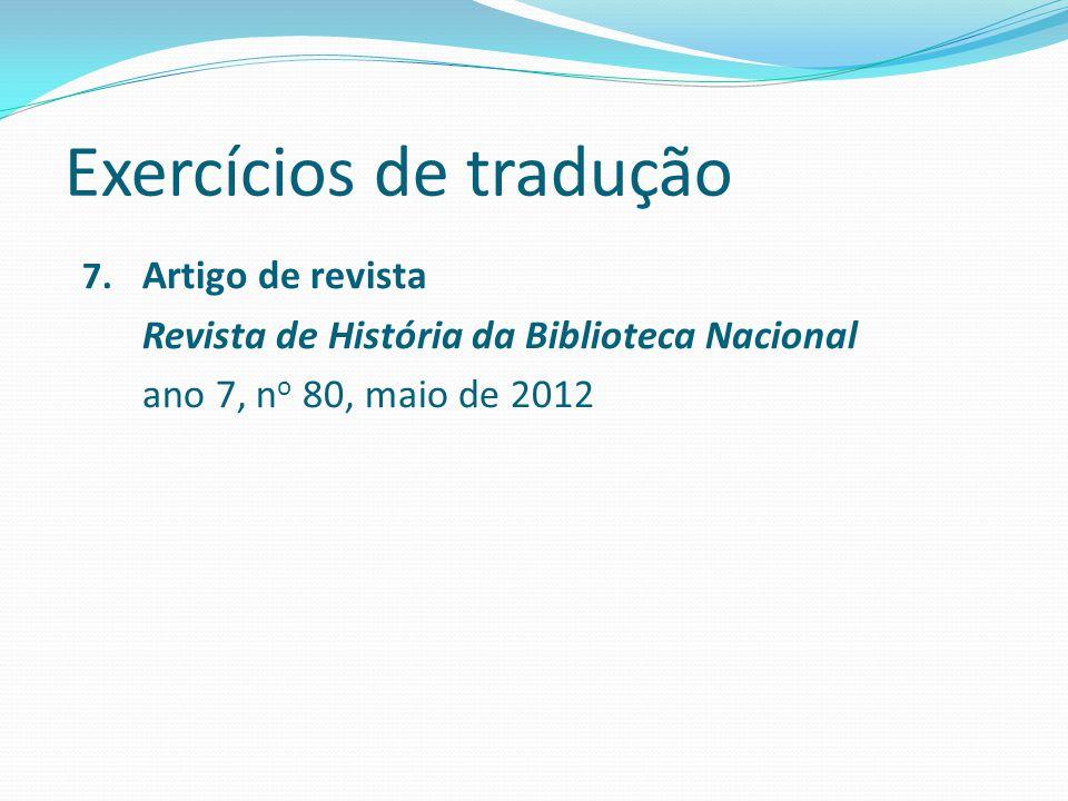 Exercícios de tradução 7.
