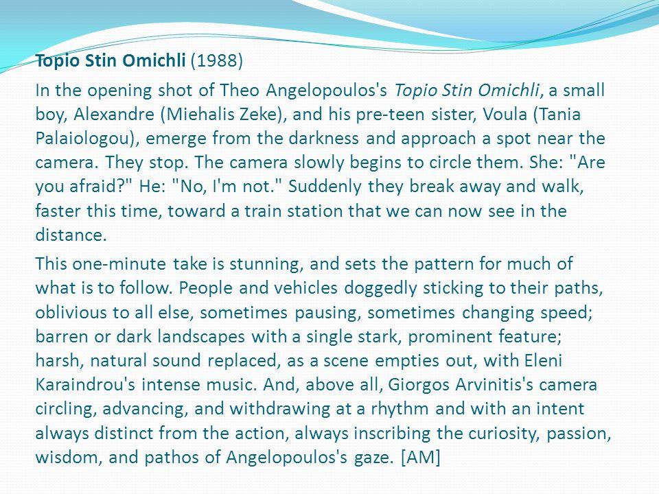 Paisagem na neblina (Topio Stin Omichli) (1988) Na tomada de abertura do filme Paisagem na neblina, de Theo Angelopoulos, um menino, Alexandre (Miehalis Zeke), e sua irmã pré- adolescente, Voula (Tania Palaiologou), surgem do escuro e se aproximam de um local perto da câmera.