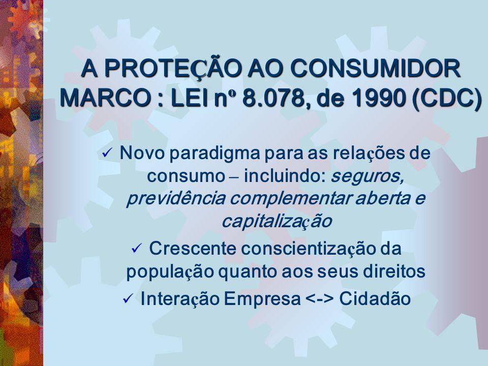 A PROTE Ç ÃO AO CONSUMIDOR MARCO : LEI n º 8.078, de 1990 (CDC) Novo paradigma para as rela ç ões de consumo – incluindo: seguros, previdência complem