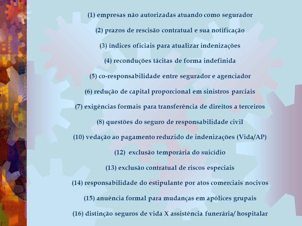(1) empresas não autorizadas atuando como segurador (2) prazos de rescisão contratual e sua notificação (3) índices oficiais para atualizar indenizaçõ