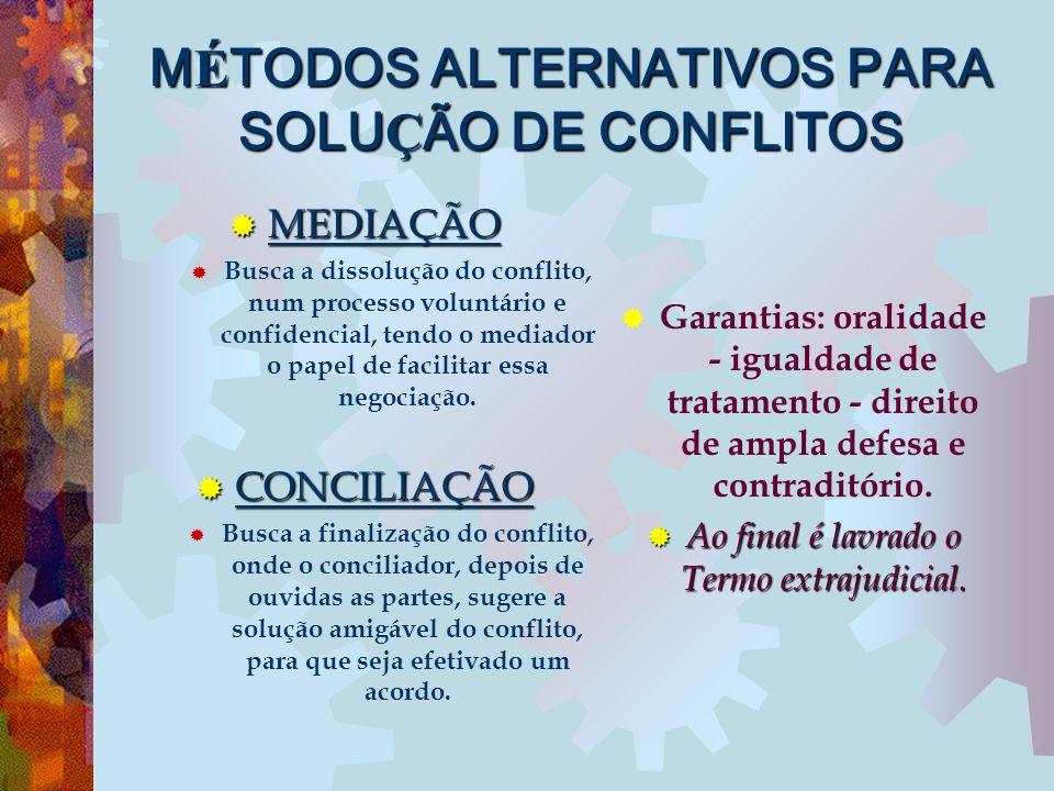 M É TODOS ALTERNATIVOS PARA SOLU Ç ÃO DE CONFLITOS  MEDIAÇÃO  Busca a dissolução do conflito, num processo voluntário e confidencial, tendo o mediad