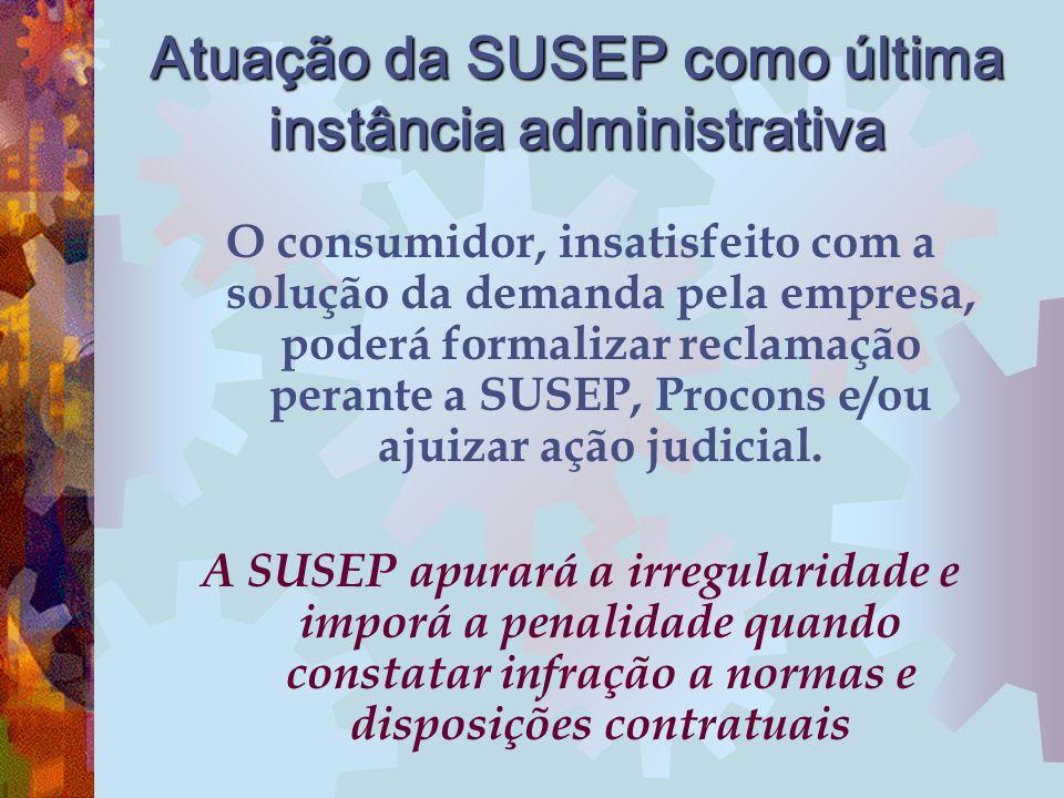 Atuação da SUSEP como última instância administrativa O consumidor, insatisfeito com a solução da demanda pela empresa, poderá formalizar reclamação p