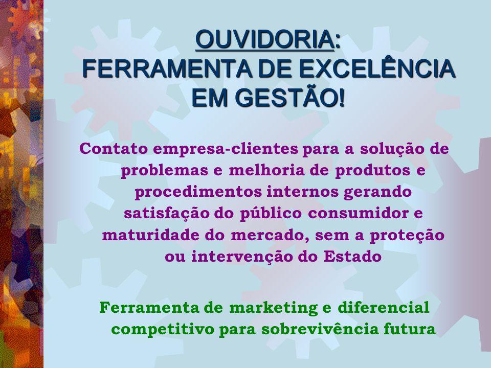 OUVIDORIA: FERRAMENTA DE EXCELÊNCIA EM GESTÃO! Contato empresa-clientes para a solução de problemas e melhoria de produtos e procedimentos internos ge