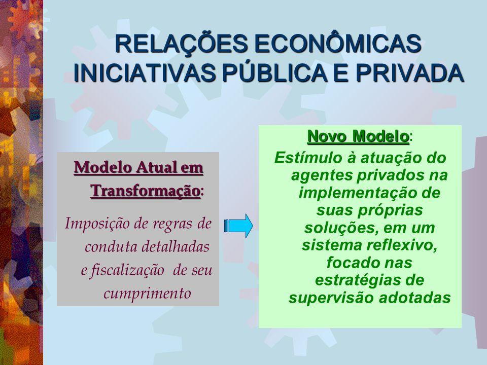 RELAÇÕES ECONÔMICAS INICIATIVAS PÚBLICA E PRIVADA Novo Modelo Novo Modelo : Estímulo à atuação do agentes privados na implementação de suas próprias s