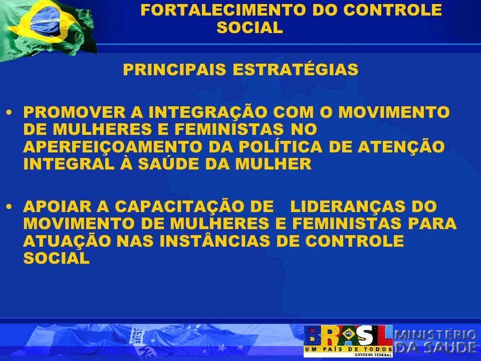 FORTALECIMENTO DO CONTROLE SOCIAL PRINCIPAIS ESTRATÉGIAS PROMOVER A INTEGRAÇÃO COM O MOVIMENTO DE MULHERES E FEMINISTAS NO APERFEIÇOAMENTO DA POLÍTICA