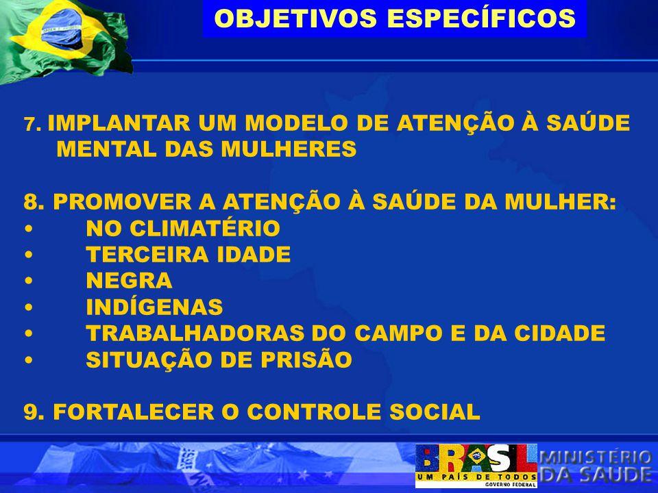 7. IMPLANTAR UM MODELO DE ATENÇÃO À SAÚDE MENTAL DAS MULHERES 8. PROMOVER A ATENÇÃO À SAÚDE DA MULHER: NO CLIMATÉRIO TERCEIRA IDADE NEGRA INDÍGENAS TR