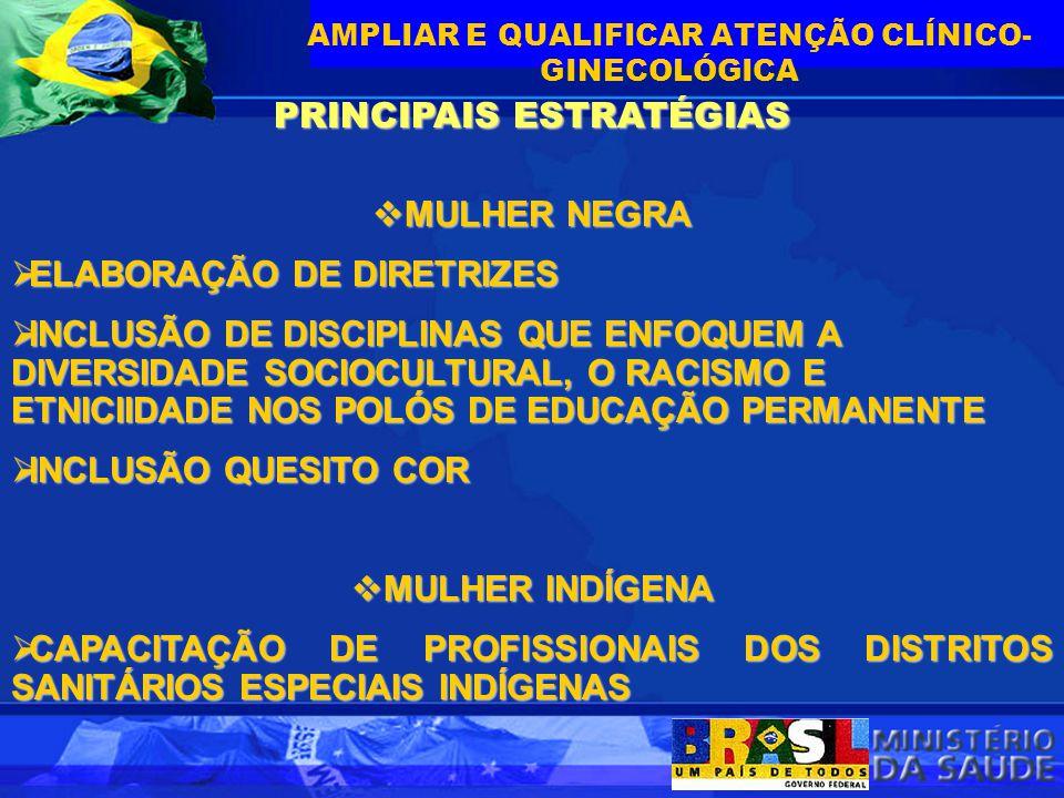 PRINCIPAIS ESTRATÉGIAS  MULHER NEGRA  ELABORAÇÃO DE DIRETRIZES  INCLUSÃO DE DISCIPLINAS QUE ENFOQUEM A DIVERSIDADE SOCIOCULTURAL, O RACISMO E ETNIC