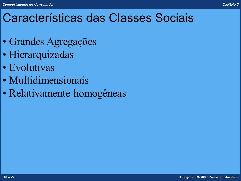 Comportamento do Consumidor Capítulo 3 10 – 22Copyright © 2005 Pearson Education Características das Classes Sociais Grandes Agregações Hierarquizadas