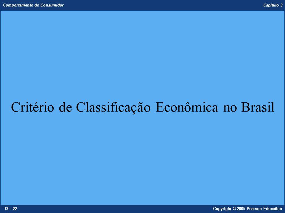 Comportamento do Consumidor Capítulo 3 13 – 22Copyright © 2005 Pearson Education Critério de Classificação Econômica no Brasil