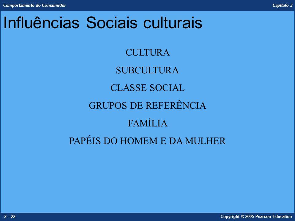 Comportamento do Consumidor Capítulo 3 2 – 22Copyright © 2005 Pearson Education Influências Sociais culturais CULTURA SUBCULTURA CLASSE SOCIAL GRUPOS