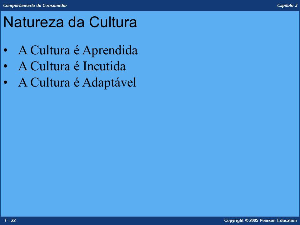 Comportamento do Consumidor Capítulo 3 7 – 22Copyright © 2005 Pearson Education Natureza da Cultura A Cultura é Aprendida A Cultura é Incutida A Cultu
