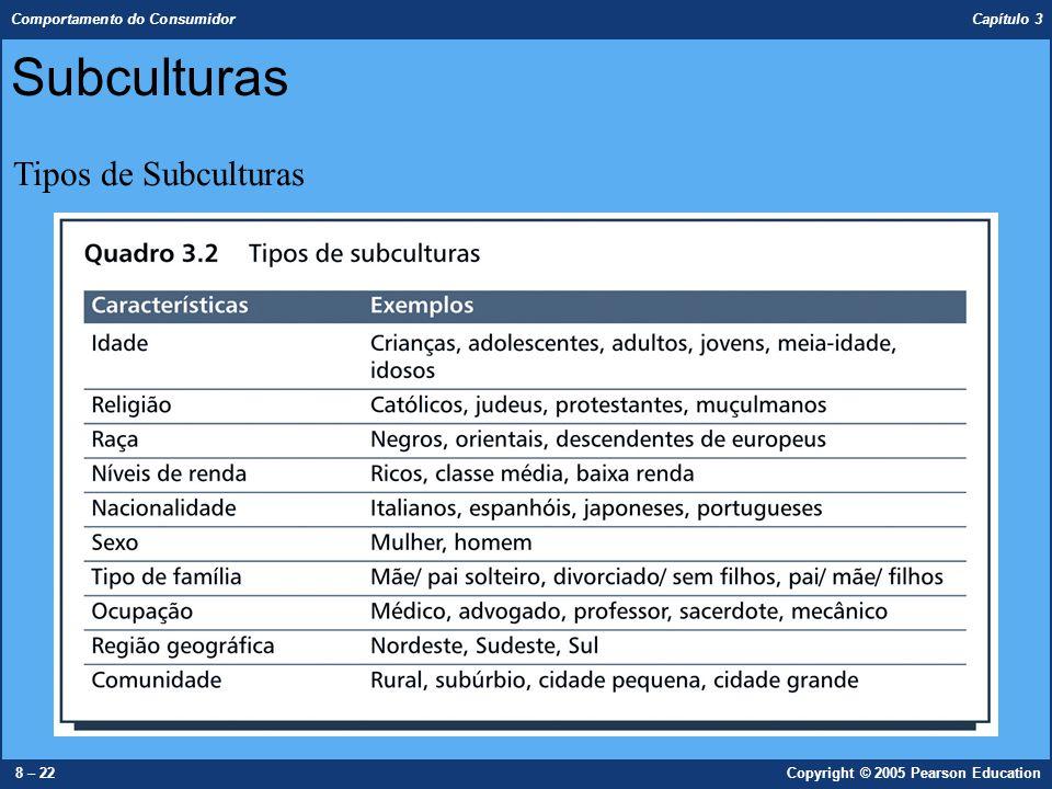 Comportamento do Consumidor Capítulo 3 8 – 22Copyright © 2005 Pearson Education Subculturas Tipos de Subculturas