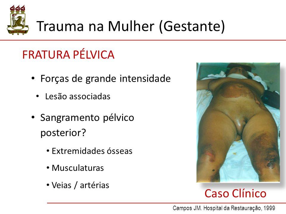 Forças de grande intensidade Lesão associadas Sangramento pélvico posterior.