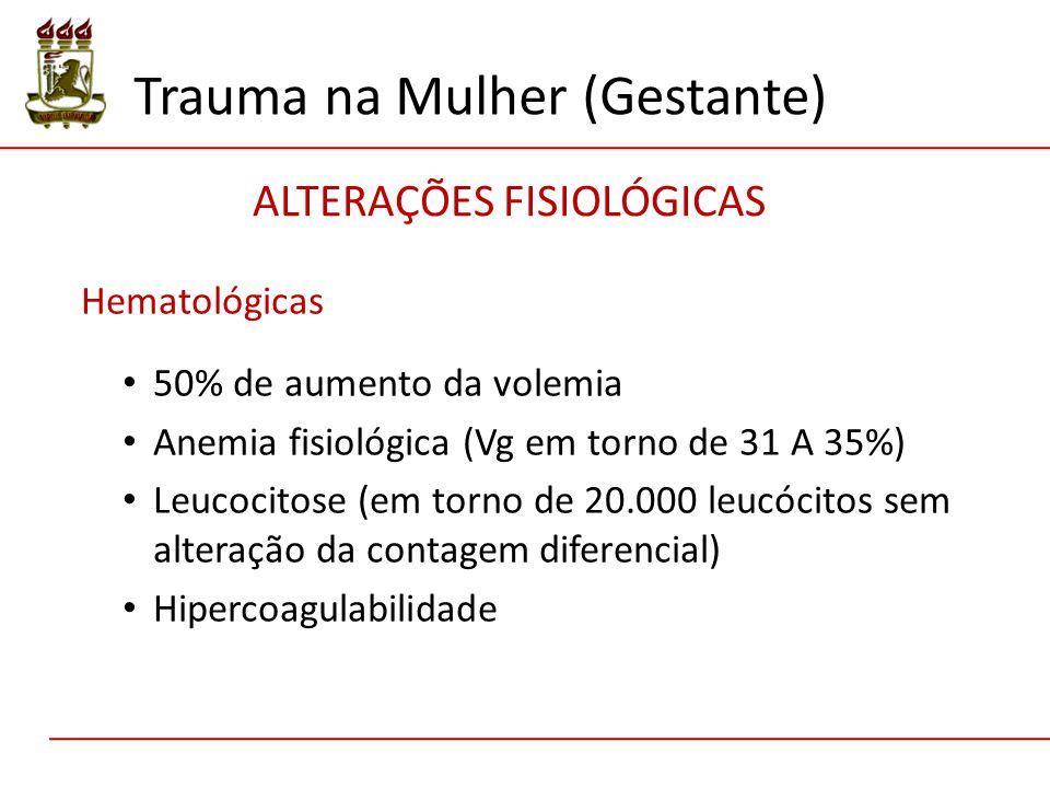 Hematológicas 50% de aumento da volemia Anemia fisiológica (Vg em torno de 31 A 35%) Leucocitose (em torno de 20.000 leucócitos sem alteração da contagem diferencial) Hipercoagulabilidade Trauma na Mulher (Gestante) ALTERAÇÕES FISIOLÓGICAS