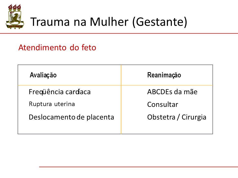 Trauma na Mulher (Gestante) Atendimento do feto Avaliação Reanimação Freqüência cardíaca ABCDEs da mãe Ruptura uterina Deslocamento de placenta Consultar Obstetra / Cirurgia