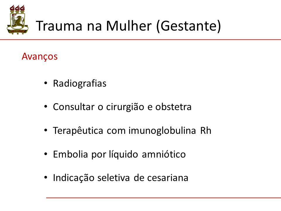 Avanços Radiografias Consultar o cirurgião e obstetra Terapêutica com imunoglobulina Rh Embolia por líquido amniótico Indicação seletiva de cesariana Trauma na Mulher (Gestante)