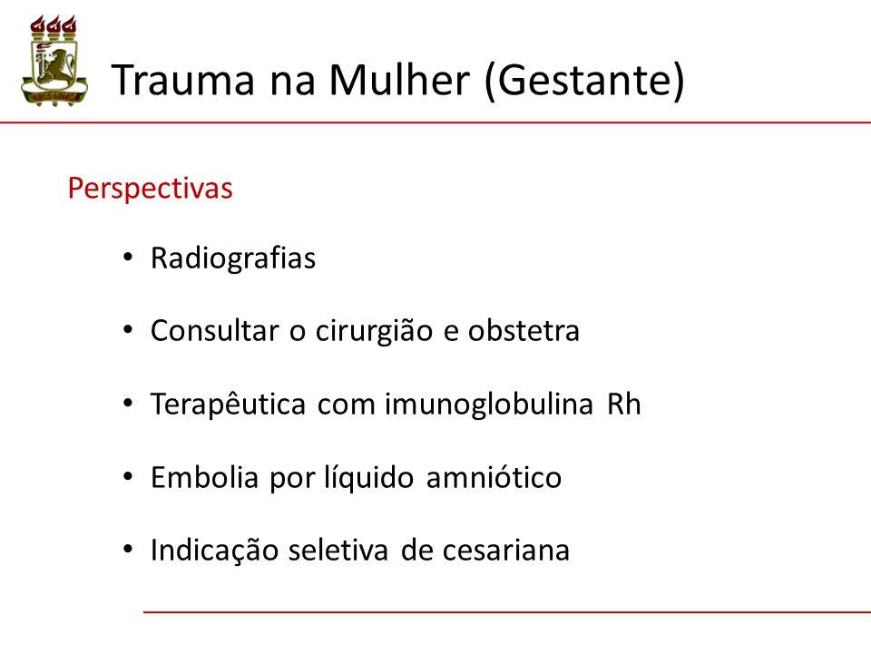 Perspectivas Radiografias Consultar o cirurgião e obstetra Terapêutica com imunoglobulina Rh Embolia por líquido amniótico Indicação seletiva de cesariana Trauma na Mulher (Gestante)