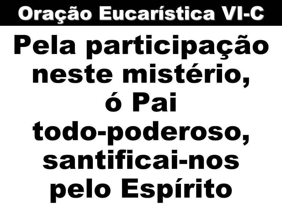 Pela participação neste mistério, ó Pai todo-poderoso, santificai-nos pelo Espírito Oração Eucarística VI-C