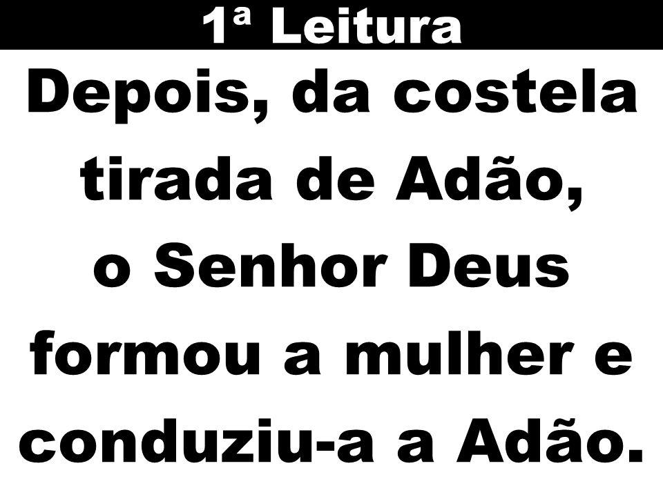 Depois, da costela tirada de Adão, o Senhor Deus formou a mulher e conduziu-a a Adão. 1ª Leitura
