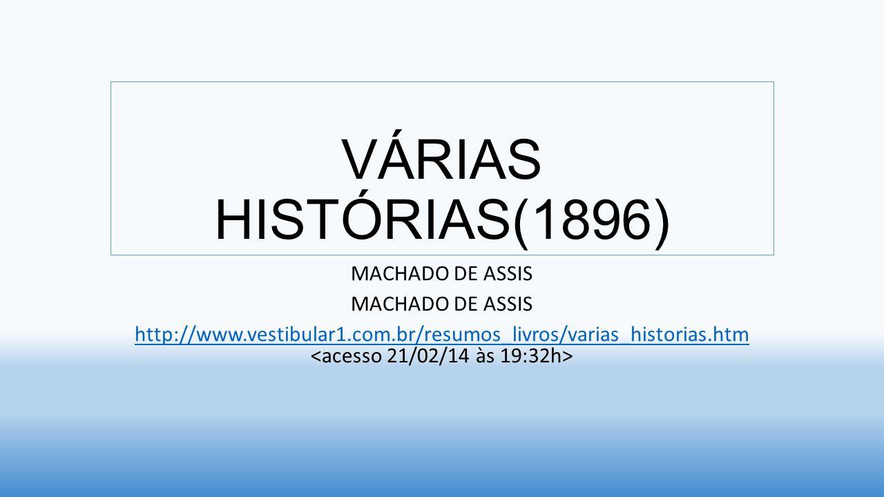 OBRA ANALISADAVÁRIA HISTÓRIAS GÊNEROCONTOS ÍNDICE 16 CONTOS AUTORJOAQUIM MARIA MACHADO DE ASSIS DADOS BIOGRÁFICOS* 21/06/1839 - RJ +29/09/1908- RJ