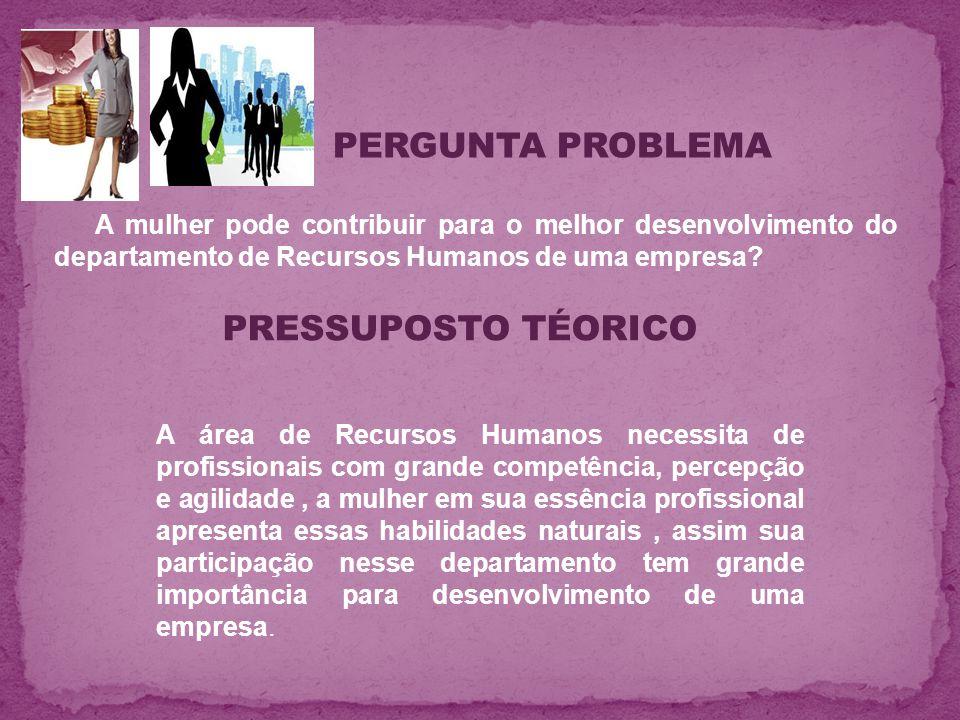 A mulher pode contribuir para o melhor desenvolvimento do departamento de Recursos Humanos de uma empresa? PERGUNTA PROBLEMA PRESSUPOSTO TÉORICO A áre