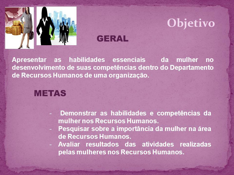 Apresentar as habilidades essenciais da mulher no desenvolvimento de suas competências dentro do Departamento de Recursos Humanos de uma organização.