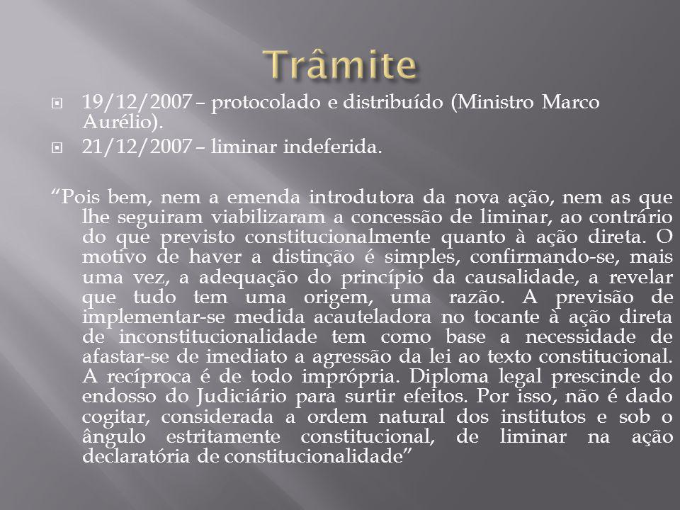 """ 19/12/2007 – protocolado e distribuído (Ministro Marco Aurélio).  21/12/2007 – liminar indeferida. """"Pois bem, nem a emenda introdutora da nova ação"""