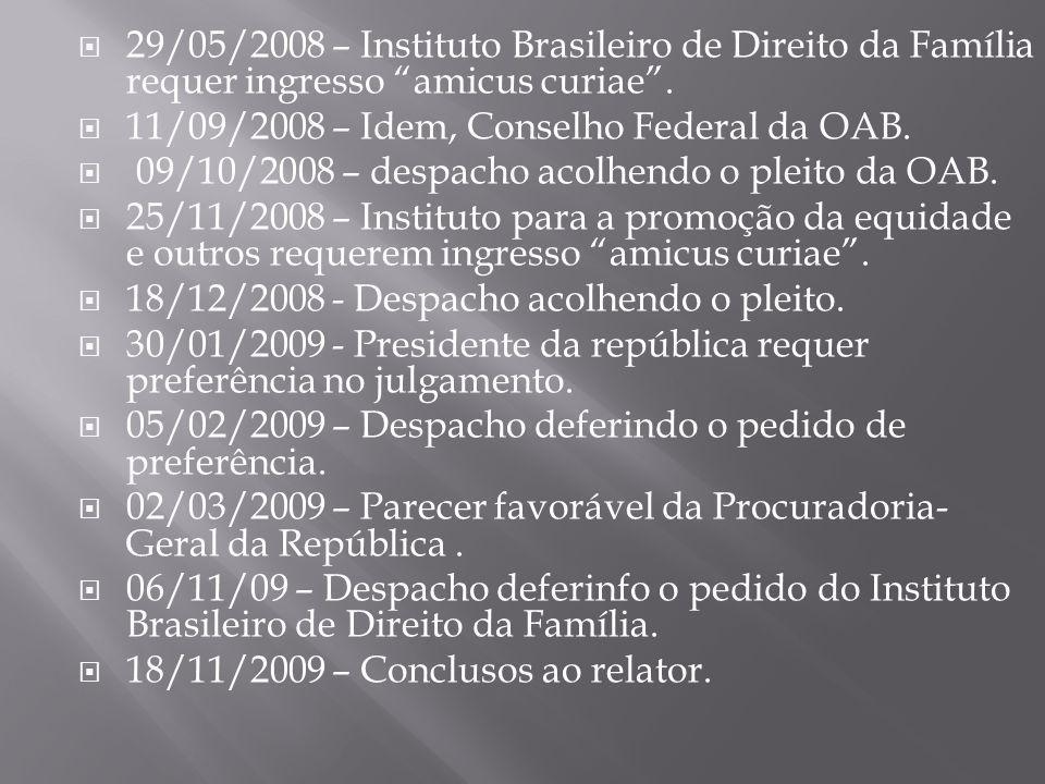 """ 29/05/2008 – Instituto Brasileiro de Direito da Família requer ingresso """"amicus curiae"""".  11/09/2008 – Idem, Conselho Federal da OAB.  09/10/2008"""