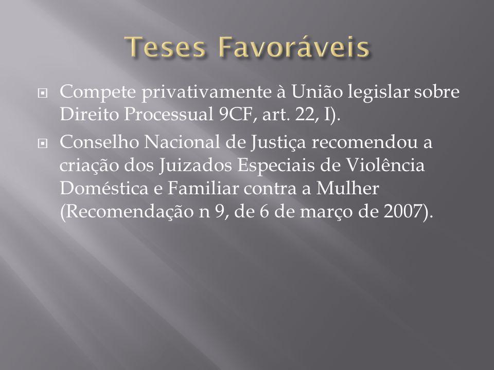  Compete privativamente à União legislar sobre Direito Processual 9CF, art. 22, I).  Conselho Nacional de Justiça recomendou a criação dos Juizados