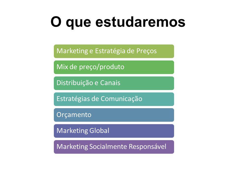 O que estudaremos Marketing e Estratégia de PreçosMix de preço/produtoDistribuição e CanaisEstratégias de ComunicaçãoOrçamentoMarketing GlobalMarketing Socialmente Responsável