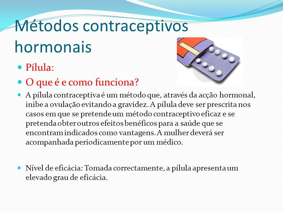 Métodos contraceptivos hormonais Pílula: O que é e como funciona? A pílula contraceptiva é um método que, através da acção hormonal, inibe a ovulação