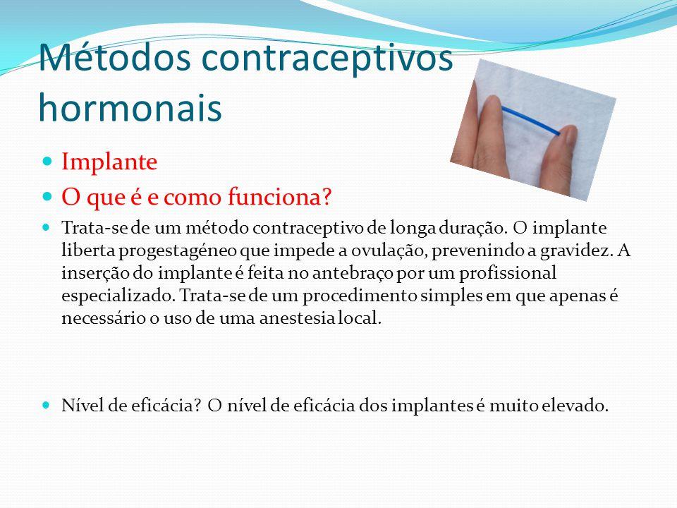 Métodos contraceptivos hormonais Implante O que é e como funciona? Trata-se de um método contraceptivo de longa duração. O implante liberta progestagé