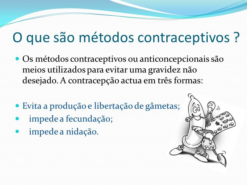 O que são métodos contraceptivos ? Os métodos contraceptivos ou anticoncepcionais são meios utilizados para evitar uma gravidez não desejado. A contra