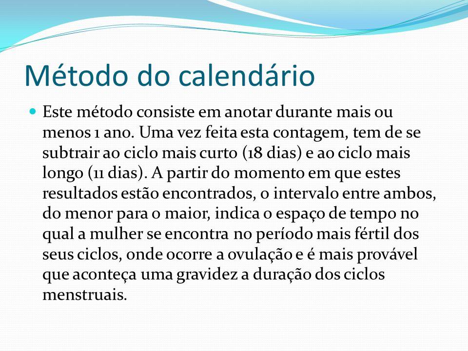 Método do calendário Exemplo Imaginemos que uma mulher contabilizou o seu ciclo mais curto com 26 dias e o seu ciclo mais longo com 30 dias.