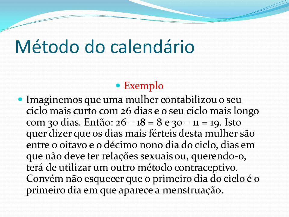 Método do calendário Exemplo Imaginemos que uma mulher contabilizou o seu ciclo mais curto com 26 dias e o seu ciclo mais longo com 30 dias. Então: 26