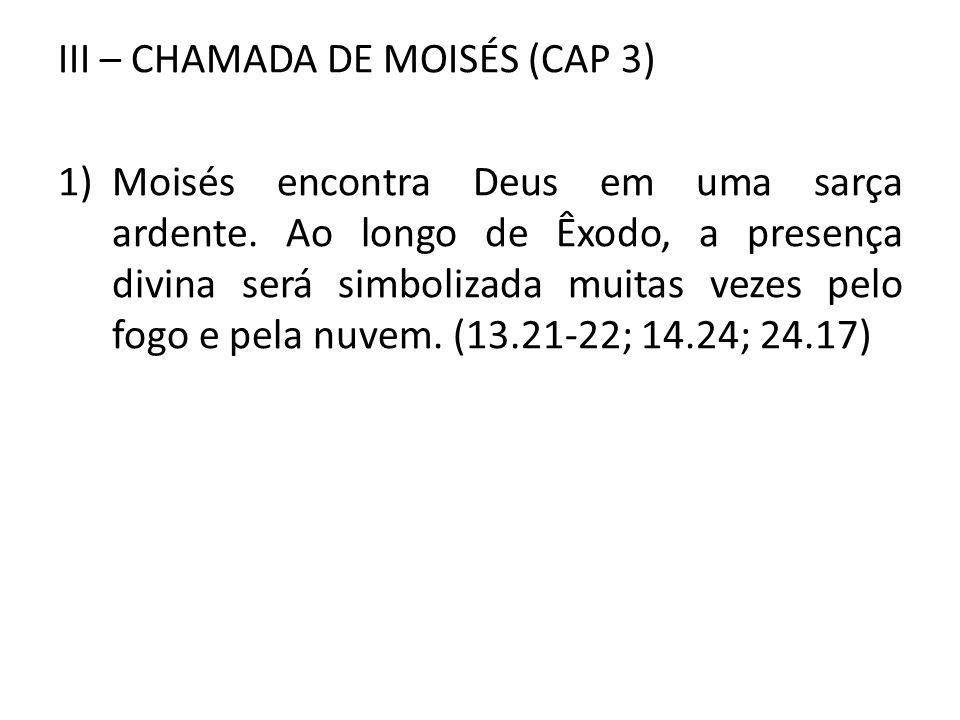 III – CHAMADA DE MOISÉS (CAP 3) 1)Moisés encontra Deus em uma sarça ardente. Ao longo de Êxodo, a presença divina será simbolizada muitas vezes pelo f