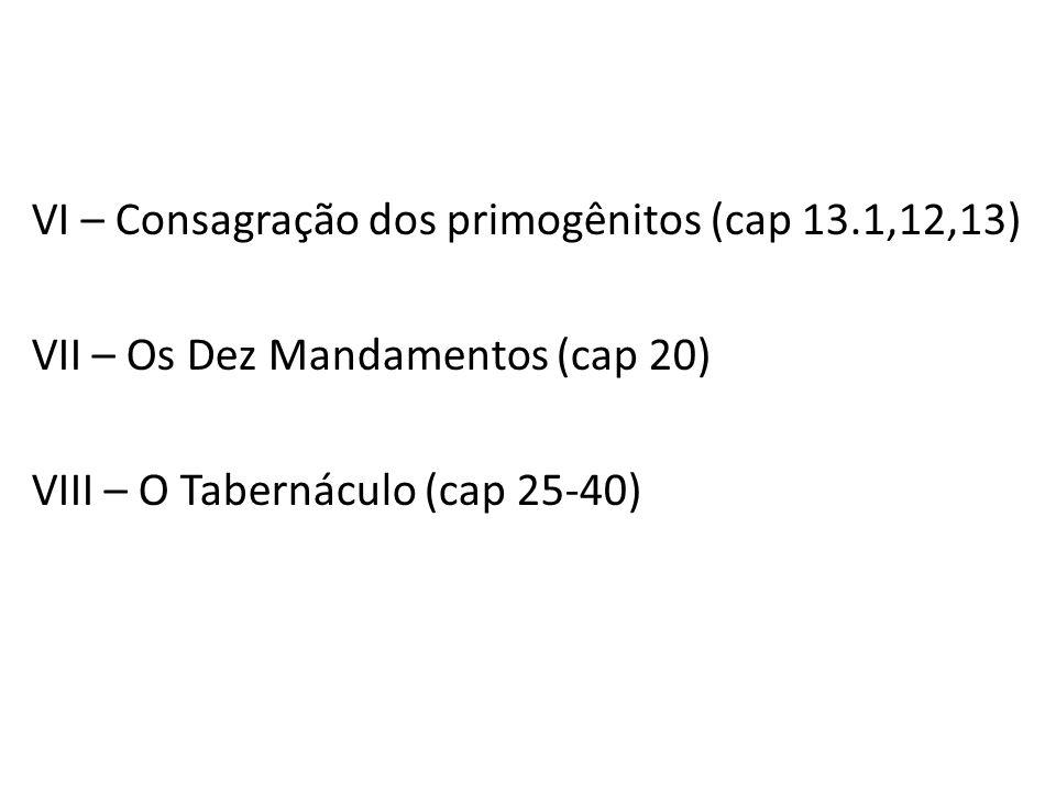 VI – Consagração dos primogênitos (cap 13.1,12,13) VII – Os Dez Mandamentos (cap 20) VIII – O Tabernáculo (cap 25-40)